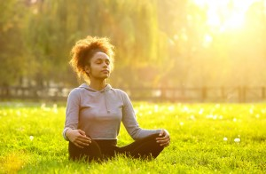 african american woman yoga relaxation